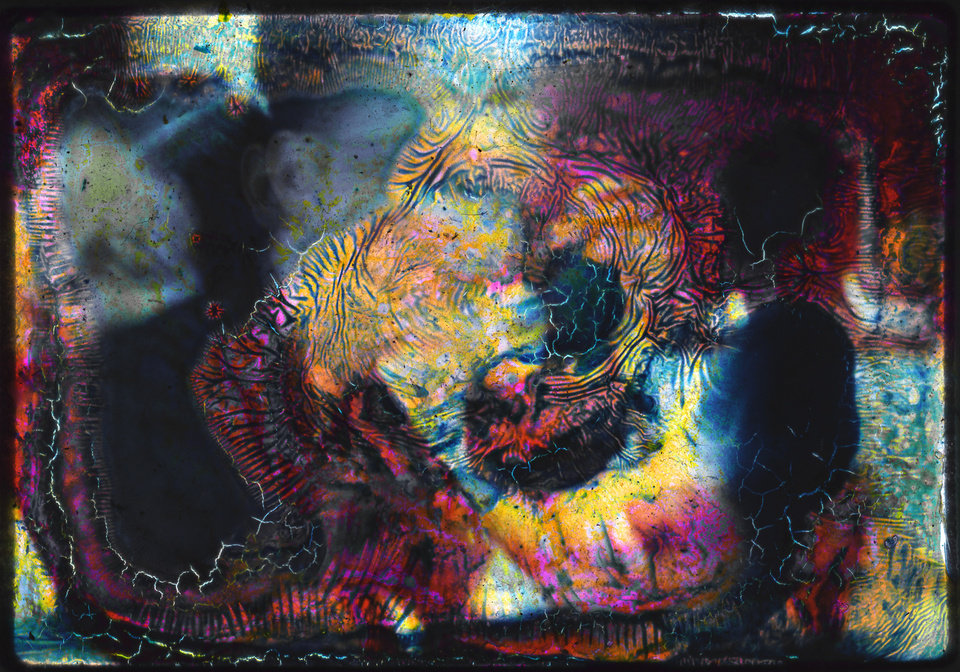 This undated image provided by the artist Coke Wisdom O'Neal was created when floodwaters from Superstorm Sandy oxidzed a photograph of a woman resting her head on a man's shoulder, turning it into an abstract image, in his basement studio in the Red Hook neighborhood of the Brooklyn borough of New York. O'Neal will include the piece in a solo exhibition at a Chelsea gallery in Manhattan in March. (AP Photo/Coke Wisdom O'Neal)