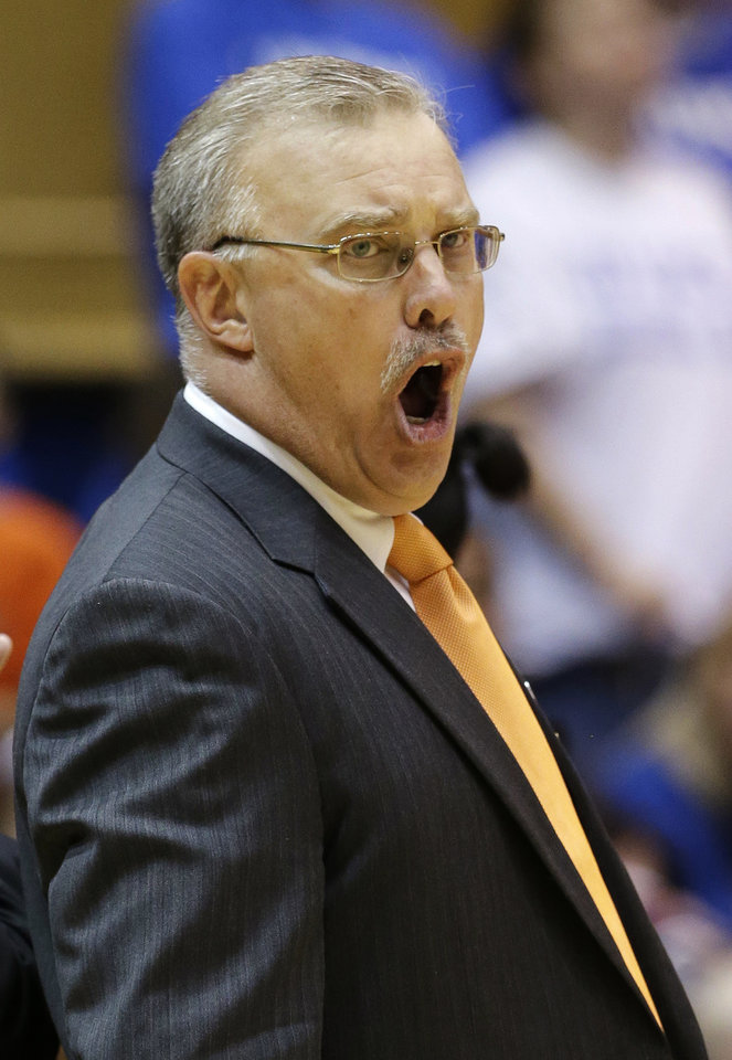 Oklahoma State head coach Jim Littell reacts during the second half of a second-round game against Duke in the women\'s NCAA college basketball tournament in Durham, N.C., Tuesday, March 26, 2013. Duke won 68-59. (AP Photo/Gerry Broome)