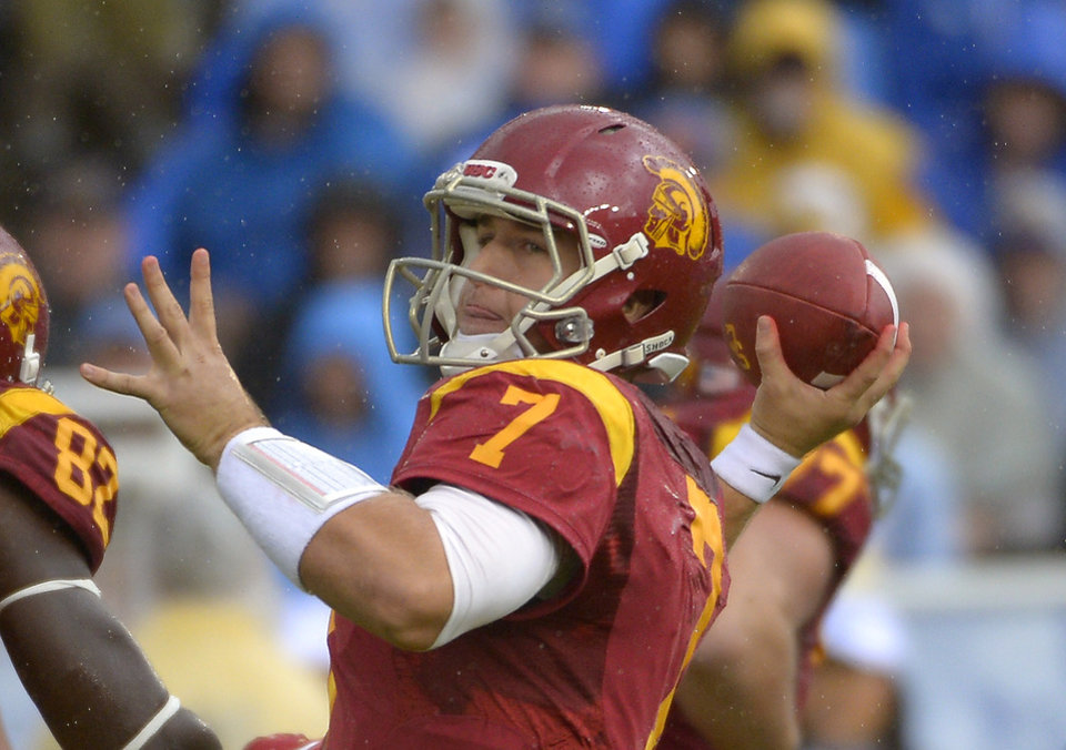 Southern California quarterback Matt Barkley passes during the second half of their NCAA college football game against UCLA, Saturday, Nov. 17, 2012, in Pasadena, Calif. UCLA won 38-28. (AP Photo/Mark J. Terrill)