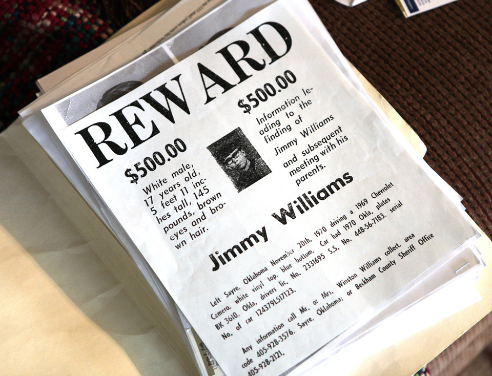 A reward poster for Jimmy Allen Williams, 16, one of three teens who went missing from Sayre in 1970. David McDaniel - The Oklahoman