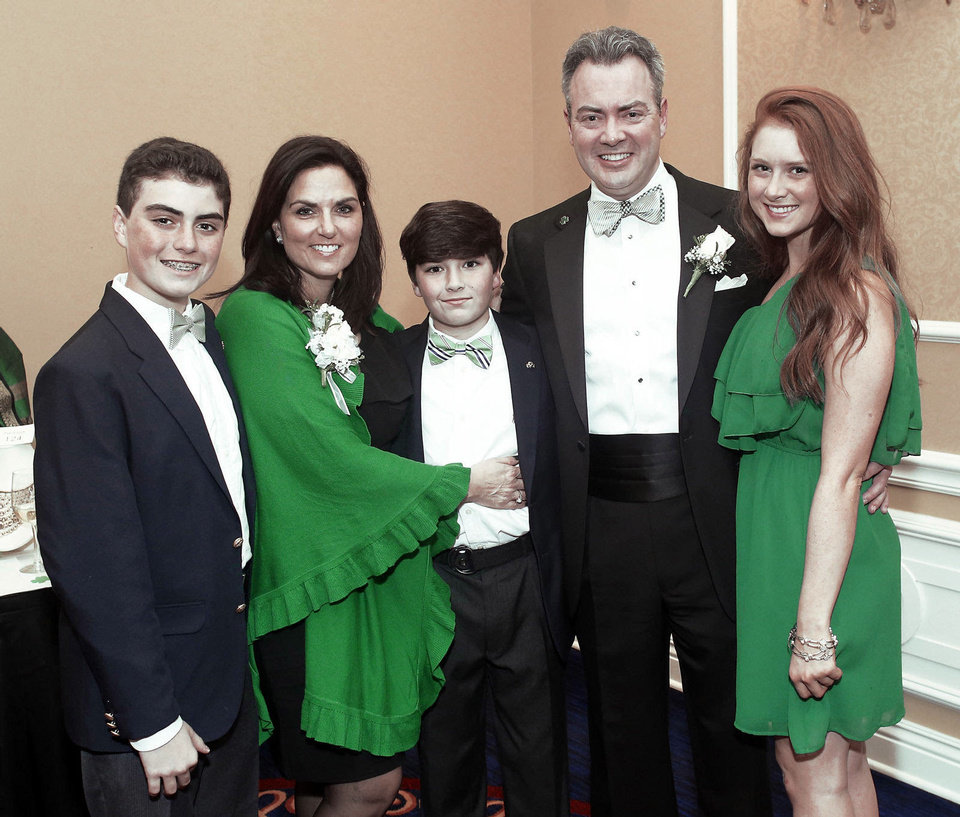 Photo - SEAN REEN / AMY REEN / GRIFFIN REEN / HANNAH REEN: Chris Reen family: son Sean, wife Amy, son Griffin and daughter Hannah, attended the Green Tie Gala, a benefit for Catholic Charities at the Skirvin in downtown Oklahoma City Friday, March 8, 2013. Photo by Doug Hoke, The Oklahoman