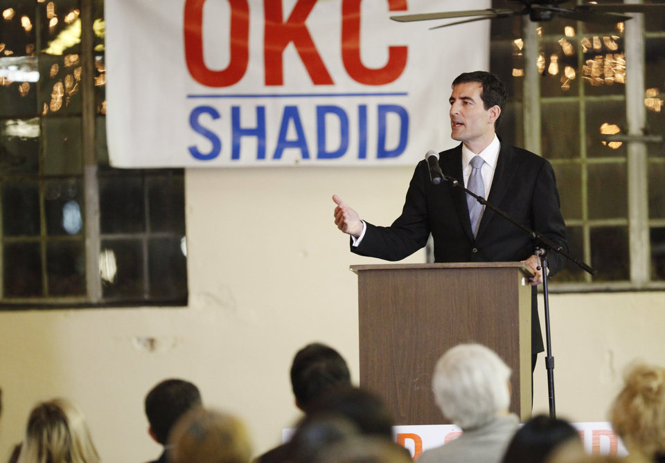 Photo -  Councilman Ed Shadid concedes the Oklahoma City mayoral race Tuesday at a gathering at Farmers Public Market. Shadid lost to incumbent Mayor Mick Cornett. Photo by KT King, The Oklahoman   KT King -