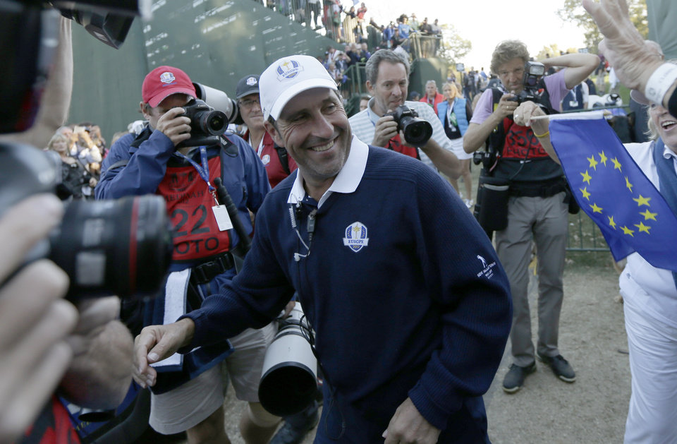 European team captain Jose Maria Olazabal celebrates after winning the Ryder Cup PGA golf tournament Sunday, Sept. 30, 2012, at the Medinah Country Club in Medinah, Ill. (AP Photo/David J. Phillip)  ORG XMIT: PGA227