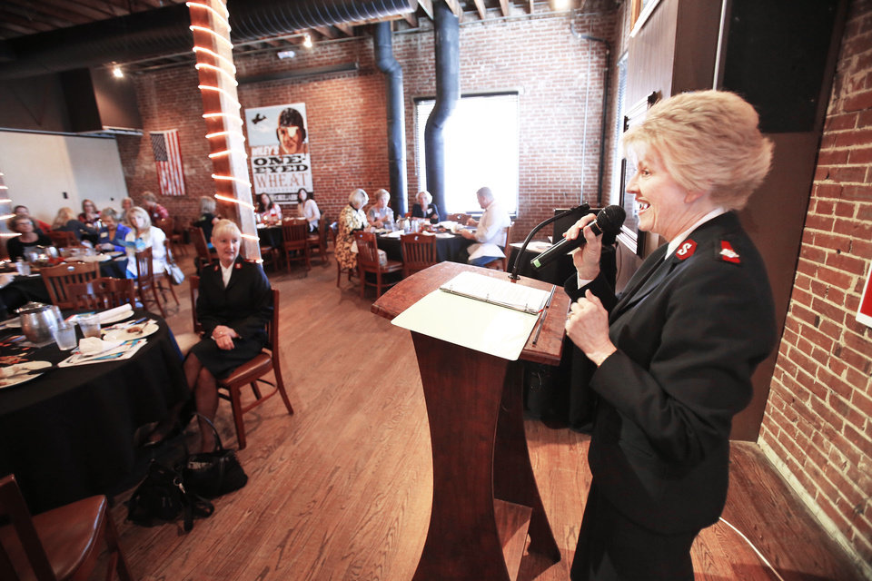 Salvation Army Maj. Francina Proctor  speaks on the fight against human trafficking in Oklahoma during the Fall OKC Happy Hour Women's Luncheon at the Bricktown Brewery in Oklahoma City, Wednesday November 07, 2012. Photo By Steve Gooch, The Oklahoman