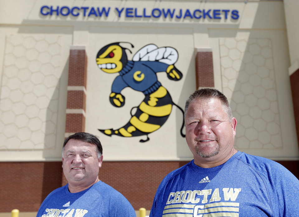 Photo - Choctaw head coach Todd Dilbeck, right, and offensive coordinator Ty Prestidge pose for a photo, Sunday, Aug 11, 2013. Photo by Sarah Phipps, The Oklahoman