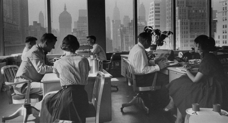 Photo - This photo circa 1959 released by the National Archives, Records of the U.S. Information Agency, shows Interior view of Lever Brothers office building in New York. The photo is part of
