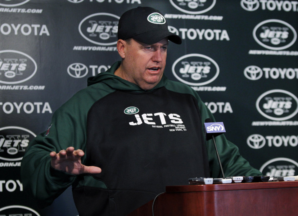 New York Jets head coach Rex Ryan gestures as he answeres a question after practice  Friday, Jan. 14, 2011, in Florham Park, N.J. The Jets play the New England Patriots in the AFC Divisional playoff game Sunday. (AP Photo/Mel Evans)