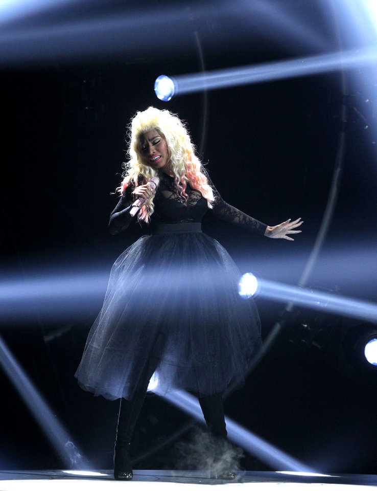 Photo -   Nicki Minaj performs at the BET Awards on Sunday, July 1, 2012, in Los Angeles. (Photo by Matt Sayles/Invision/AP)