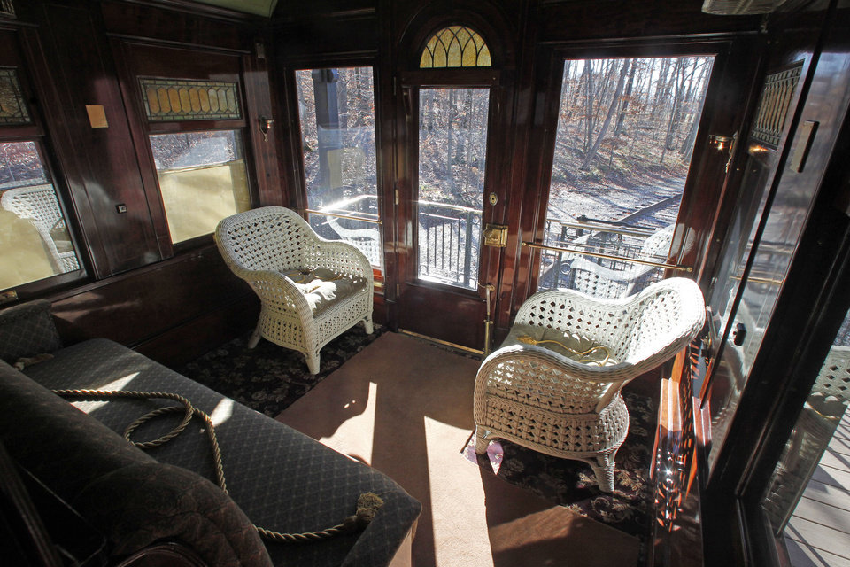 Photo -   This Monday, Nov. 19, 2012 photo shows the interior of the Pullman car owned by Robert Todd Lincoln is seen at the Robert Todd Lincoln mansion Hildene in Manchester, VT. The Georgian Revival home was built in 1905 by Robert Todd Lincoln, the only one of the president's four children to survive to adulthood.(AP Photo/Toby Talbot)