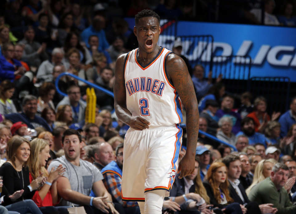 Photo - Oklahoma City's Anthony Morrow (2) celebrates during the NBA basketball game between the Oklahoma City Thunder and the Charlotte Hornets at the Chesapeake Energy Arena in Oklahoma City, Friday, Dec. 26, 2014. Photo by Sarah Phipps, The Oklahoman