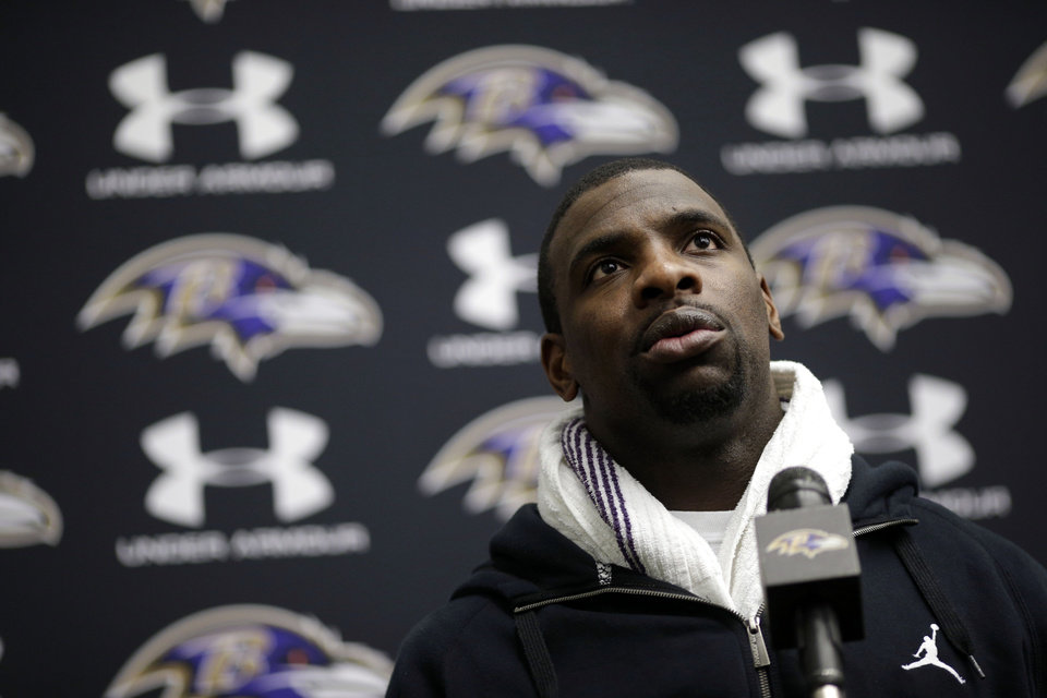 Baltimore Ravens safety Bernard Pollard speaks at a news conference at the team's practice facility in Owings Mills, Md., Monday, Jan. 21, 2013. The Ravens are scheduled to face the San Francisco 49ers in Super Bowl XLVII in New Orleans on Sunday, Feb. 3. (AP Photo/Patrick Semansky)