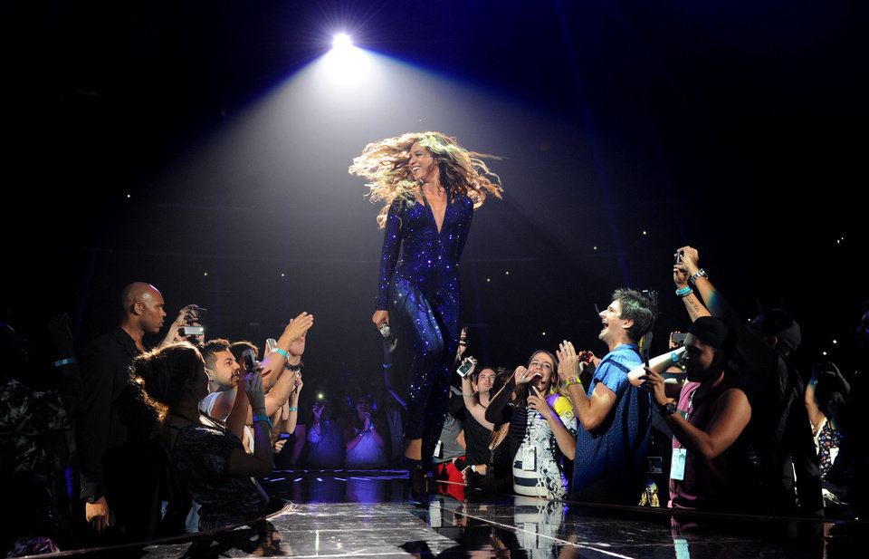 Beyonce performs Monday on her Mrs. Carter Show World Tour 2013 at Staples Center in Los Angeles.  AP PHOTO