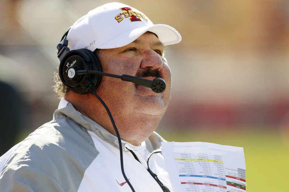 Photo - Iowa State offensive coordinator Mark Mangino during a college football game between the University of Oklahoma Sooners (OU) and the Iowa State Cyclones (ISU) at Jack Trice Stadium in Ames, Iowa, Saturday, Nov. 1, 2014. Photo by Nate Billings, The Oklahoman
