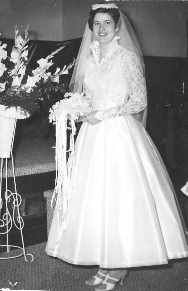 Photo - Barbara Bible Bryant was married Nov. 16, 1957. She designed the gown and another person sewed it.   - Photo provided by Barbara Bryant