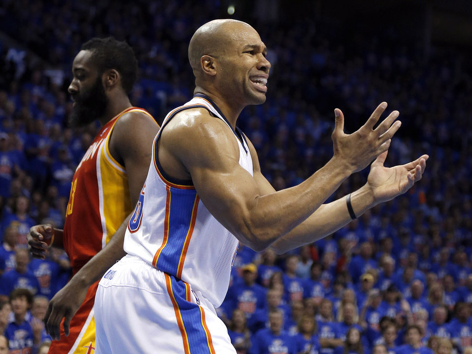 Oklahoma City\'s Derek Fisher (6) argues a foul during Game 5 in the first round of the NBA playoffs between the Oklahoma City Thunder and the Houston Rockets at Chesapeake Energy Arena in Oklahoma City, Wednesday, May 1, 2013. Photo by Sarah Phipps, The Oklahoman