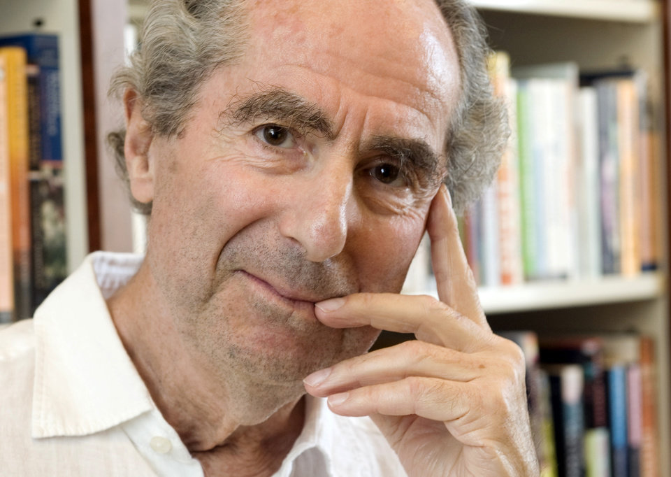 FILE - In this Sept. 8, 2008 file photo, author Philip Roth poses for a photo in the offices of his publisher Houghton Mifflin, in New York. On Tuesday night, April 30, 2013 Roth received the PEN/Allen Foundation Literary Service Award. He was cited for such novels as