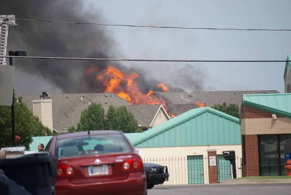 Fire in NW OKC apartments. Reader submitted. Photo by Jenny Jordan Campell