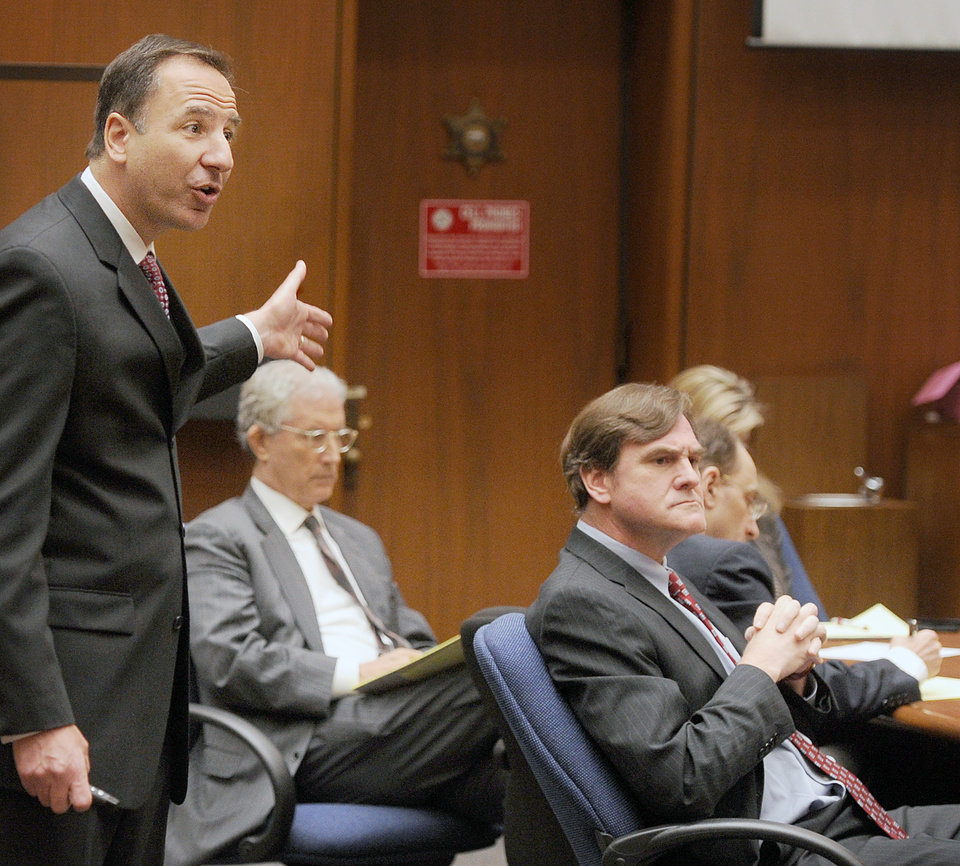 Prosecutor Habib Balian makes his final arguments in the murder trial of Christian Karl Gerhartsreiter, at Clara Shortridge Foltz Criminal Justice Center in Los Angeles Tuesday, April 9, 2013. Gerhartsreiter has pleaded not guilty to the killing of John Sohus, 27, who disappeared with his wife, Linda, in 1985 while Gerhartsreiter was a guest cottage tenant at the home of Sohus\' mother, where the couple lived. (AP Photo/San Gabriel Valley Tribune,Walter Mancini, Pool )