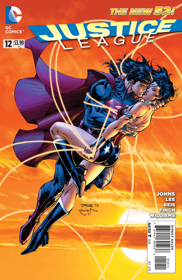 "The cover to ""Justice League"" issue No. 12, featuring a kiss between Superman and Wonder Woman. DC Comics. <strong></strong>"