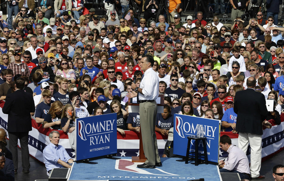 Photo -   Republican presidential candidate and former Massachusetts Gov. Mitt Romney campaigns at Shawnee State University in Portsmouth, Ohio, Saturday, Oct. 13, 2012. (AP Photo/Charles Dharapak)