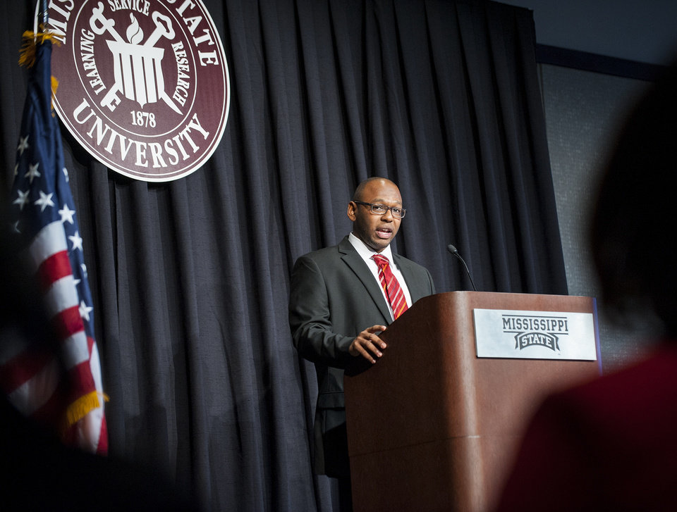 Photo - In this photo provided by Mississippi State University, Mississippi State University senior and Rhodes Scholar Field Brown gives the keynote address Monday, Jan. 20, 2014 at MSU's 2014 MLK Jr. Unity Breakfast in the Colvard Student Union. Brown said the national celebration of Martin Luther King Jr.'s birthday is a testament to the progress America has made, but he also said King's observation that,