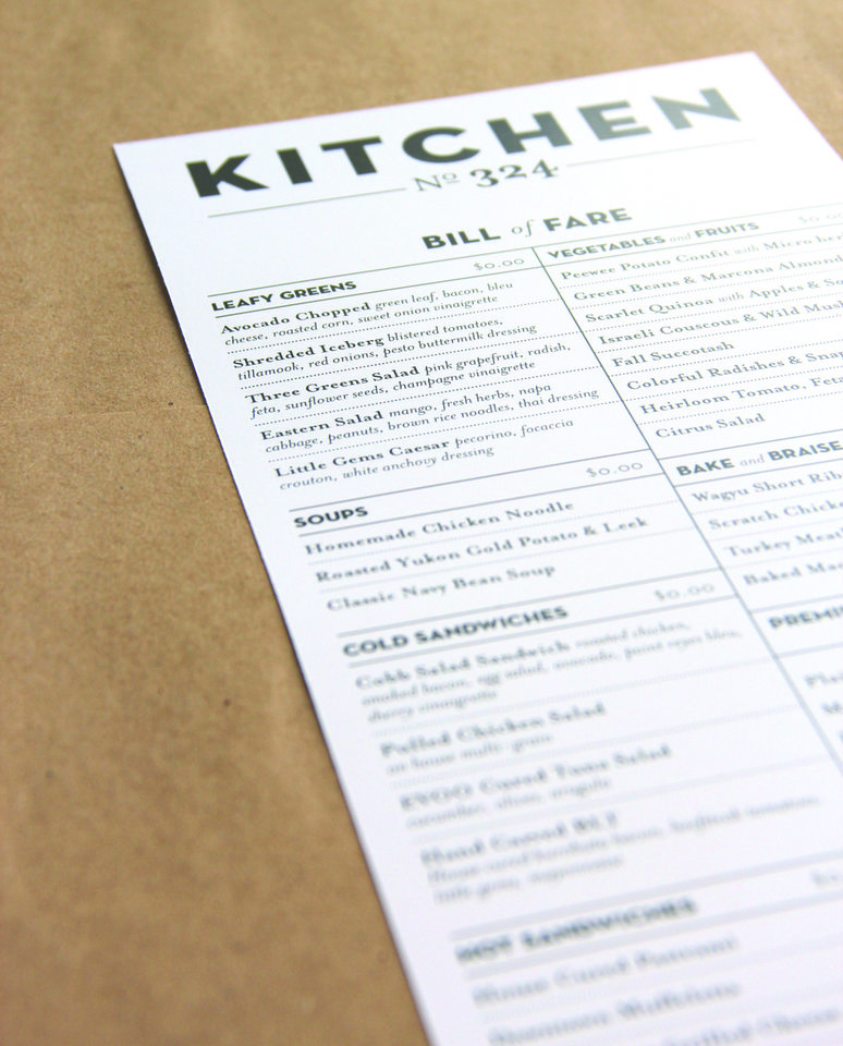 The proposed menu for the future Kitchen No. 324 is shown in this photo. <strong>provided</strong>