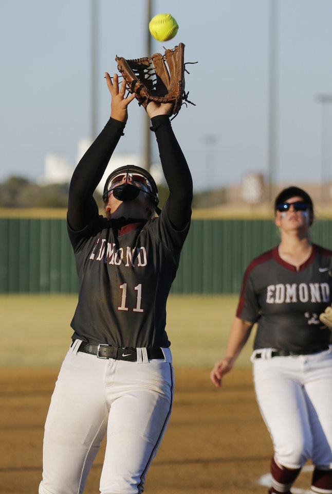 Photo - EMHA #11 Jill Dickson pitcher during the 6A Fast Pitch Championship game between Edmond Memorial and Owasso at the Ball Fields at Firelake in Shawnee, Saturday, October 19, 2019. [Doug Hoke/The Oklahoman]