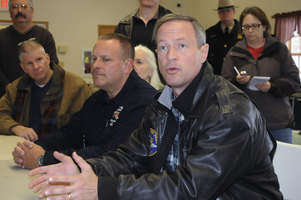 Photo -   Maryland Gov. Martin O'Malley talks with county and local officials at Southern Garrett Rescue Squad on Thursday morning, Nov. 1, 2012, in Oakland, Md. At center is Joseph V. Brocato, of the state emergency management agency. (AP Photo/Cumberland Times-News, Steven Bittner) WHAG-TV OUT