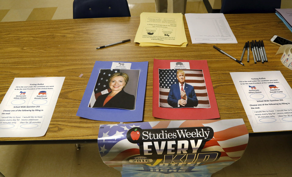 students cast votes in mock election