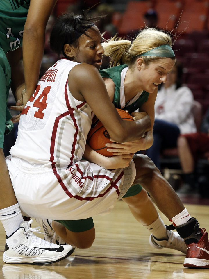 Oklahoma\'s Sharane Campbell (24) and North Texas\' Laura McCoy (4) fight for a rebound as the University of Oklahoma Sooners (OU) play the North Texas Mean Green in NCAA, women\'s college basketball at The Lloyd Noble Center on Thursday, Dec. 6, 2012 in Norman, Okla. Photo by Steve Sisney, The Oklahoman