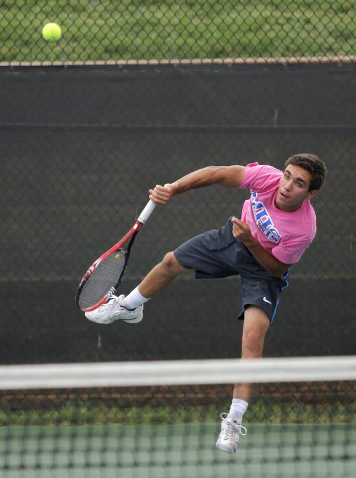 Photo - Mihael Nasteski, of Moore, competes in 6A Boys Singles during the 2012 OSSAA Boys High School State Tennis Tournament at the OKC Tennis Center at Will Rogers Park in Oklahoma City, Saturday, May 12, 2012.  Photo by Garett Fisbeck, For The Oklahoman