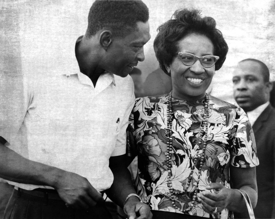 """Clara Luper, controversial civil rights leader, won't be teaching in the Oklahoma City school system this year, it appeared Tuesday.    Claiming Oklahoma City school officials are attempting her 'educational assassination.' Mrs. Luper declared she will refuse a research position offered her in the city system.    The Negro rights leader and school teacher said the school administration is bowing to pressure from her critics in removing her from classroom duties at Northwest High School.    Dr. Bill Lillard, superintendent, denied this Tuesday and said Mrs. Luper's reassignment as a research associate in the field of black history actually amounts to 'recognition' of her professional abilities."" (from an article in the 8/19/1970 Daily Oklahoman.) Staff photo by Tony Woods taken 8/22/1969; photo ran in the 8/19/1970 Daily Oklahoman."