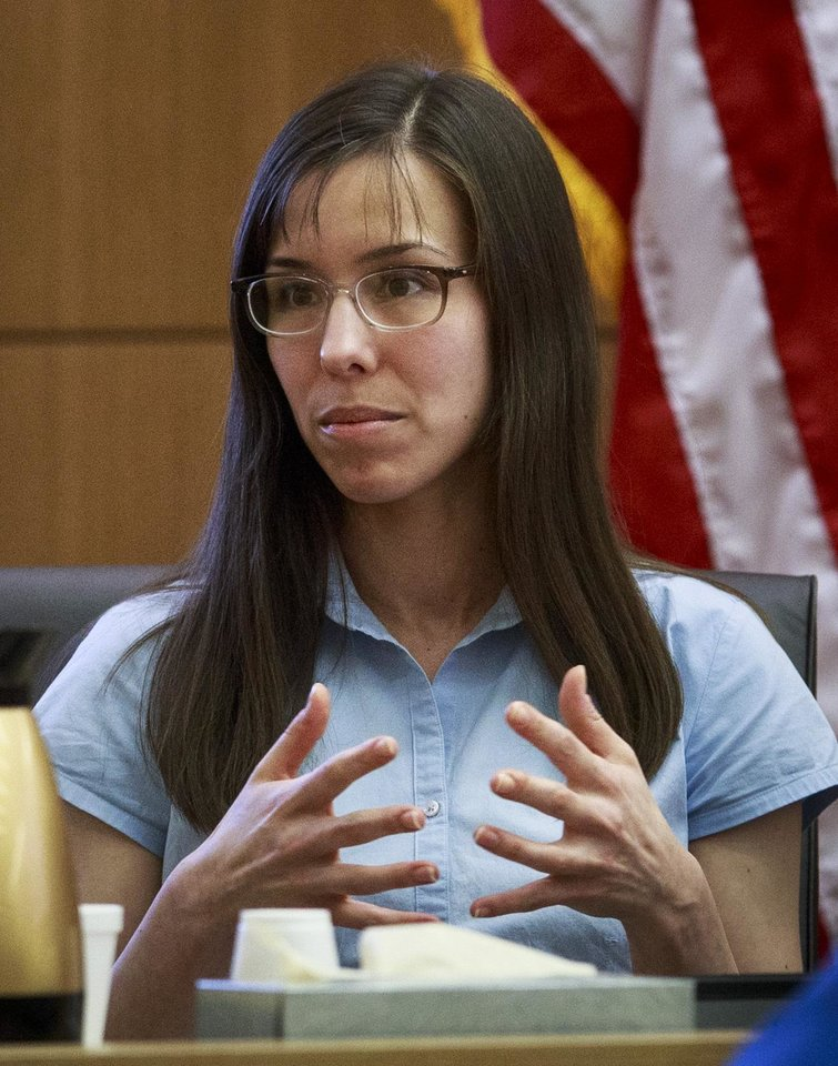 Defendant Jodi Arias testifies on her behalf during her murder trial in Judge Sherry Stephens\' Superior Court in Phoenix, on Tuesday, Feb. 5, 2013. Arias is charged in the stabbing and shooting death of her lover. She first took the stand Monday in a case that has been peppered with lurid stories of sex, lies, betrayal and violence. (AP Photo/The Arizona Republic, Charlie Leight)