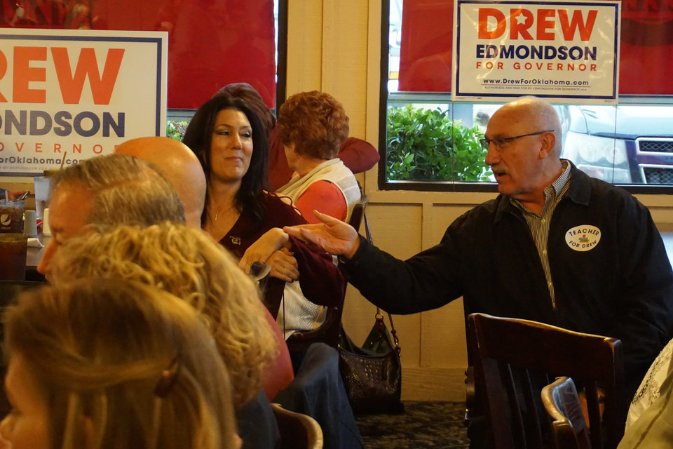 Photo -  Lawrence Scarpitti of Krebs attends a Drew Edmondson campaign event in McAlester on Thursday. [Photo by Ben Felder, The Oklahoman]