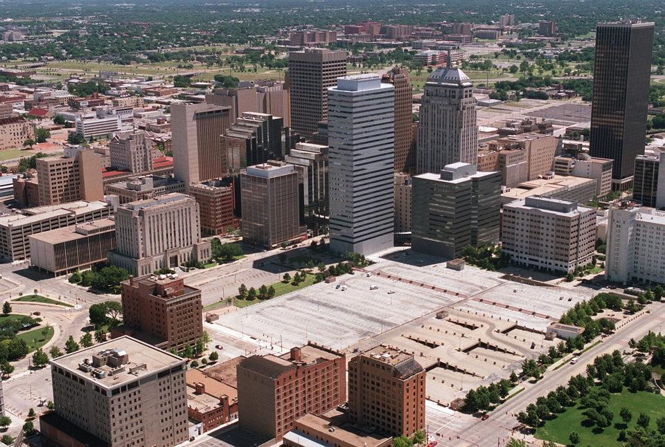 OKLAHOMA CITY / SKYLINE / AERIAL VIEW:  Aerial view of downtown Oklahoma  City looking northeast.  Possible site of new metro library. June 1998.  Staff photo by Jim Argo.
