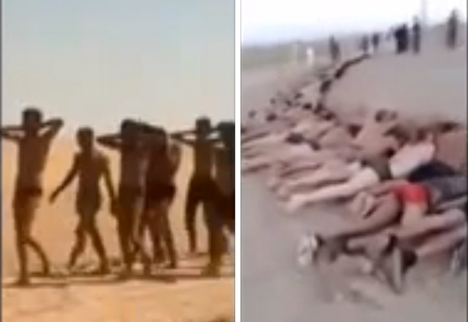 Photo - This undated photo combo taken from a video by the Islamic State group, a Syrian opposition group, which has been verified and is consistent with other AP reporting, shows still images of government soldiers captured near Tabqa, Syria according to a statement posted online and circulated on Twitter by supporters of Islamic State group.  The photo to the left shows what the extremist group said were the soldiers stripped down to their underwear marching in the desert. The photo to the right shows more than 150 men apparently killed.   (AP Photo/ The Islamic State group)