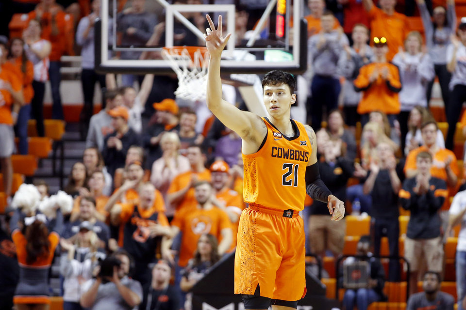 Photo - Oklahoma State's Lindy Waters III (21) gestures after making a basket during an NCAA basketball game between the Oklahoma State University Cowboys (OSU) and the Oral Roberts Golden Eagles (ORU) at Gallagher-Iba Arena in Stillwater, Okla., Wednesday, Nov. 6, 2019. [Bryan Terry/The Oklahoman]