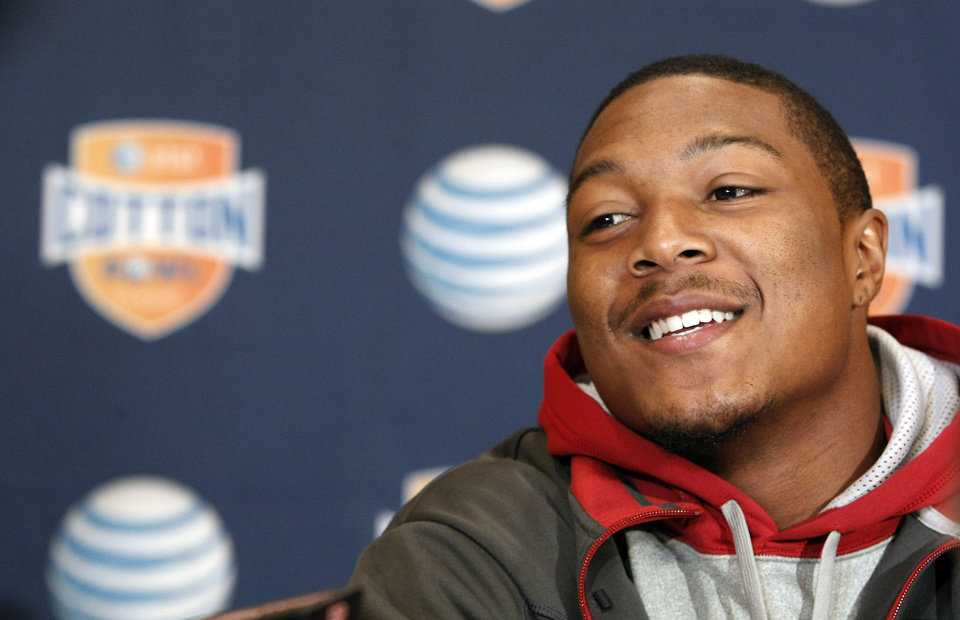 Photo - Oklahoma junior defensive back Tony Jefferson answers questions during a press conference for the Cotton Bowl NCAA college football at the Omni Mandalay hotel, Tuesday, Jan. 1, 2013, in Irving, Texas. Oklahoma plays Texas A&M on Jan. 4 in the Cotton Bowl in Arlington, Texas. (AP Photo/Brandon Wade) ORG XMIT: TXBW1267