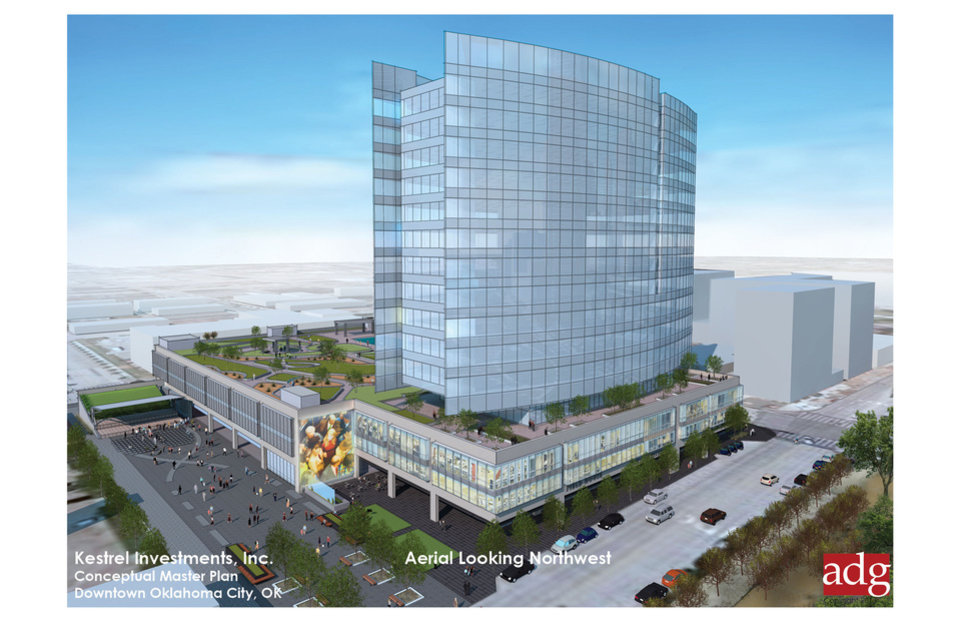 Photo - Conceptual plans for the new OGE Energy Corp. headquarters includes the possibility of a green roof atop the adjoining parking garage. Rendering provided