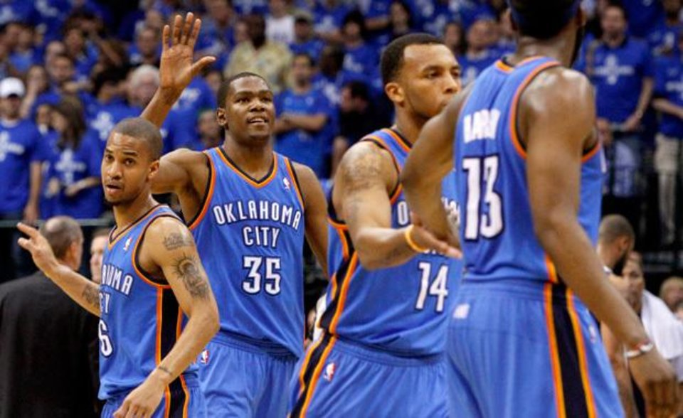 Oklahoma City\'s Kevin Durant (35) reacts beside Eric Maynor (6) during game 2 of the Western Conference Finals in the NBA basketball playoffs between the Dallas Mavericks and the Oklahoma City Thunder at American Airlines Center in Dallas, Thursday, May 19, 2011. Photo by Bryan Terry, The Oklahoman