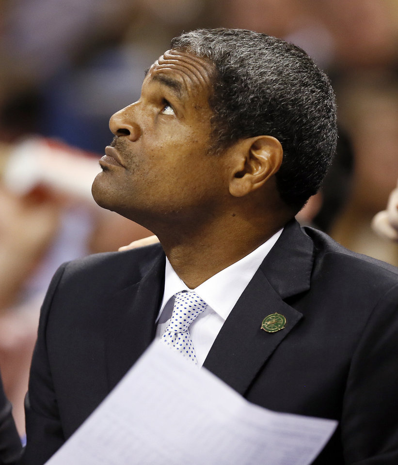 Thunder assistant coach Maurice Cheeks on the bench during an NBA basketball game between the Oklahoma City Thunder and the San Antonio Spurs at Chesapeake Energy Arena in Oklahoma City, Thursday, April 4, 2013. Photo by Nate Billings, The Oklahoman