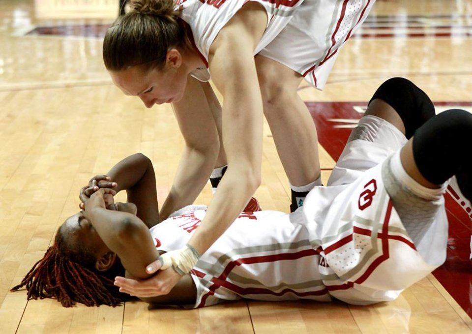 Oklahoma's Danielle Robinson reacts while teammate Carlee Roethlisberger tries to help her up following their women's college basketball game against Baylor at Lloyd Noble Center on the University of Oklahoma campus in Norman on Sunday, Feb. 27, 2011. The Sooners lost to Baylor 82-81. Photo by John Clanton, The Oklahoman ORG XMIT: KOD