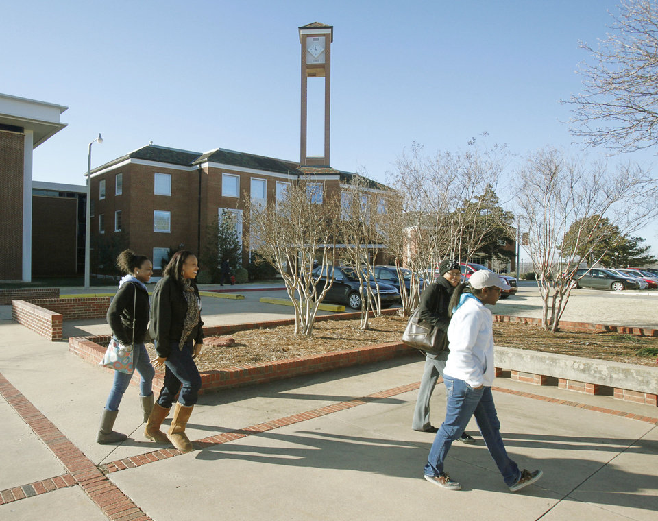 Photo - Students move between classes at Langston University. By Paul Hellstern, The Oklahoman  PAUL HELLSTERN - Oklahoman