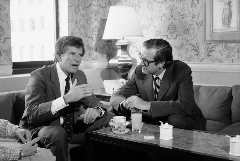 FILE - In this Wednesday, July 18, 1984 file photo, Sen. Gary Hart, left, confers with W.Va. Gov. Jay Rockefeller prior to the start of the third session of the 1984 Democratic National Convention, in San Francisco. Jay Rockefeller said, Friday, Jan. 11, 2013 that he will not seek a sixth term in 2014, a half-century after he emerged from one of America�s most recognizable dynasties to land in West Virginia and climb atop its political ranks. (AP Photo/Jack Smith, File)