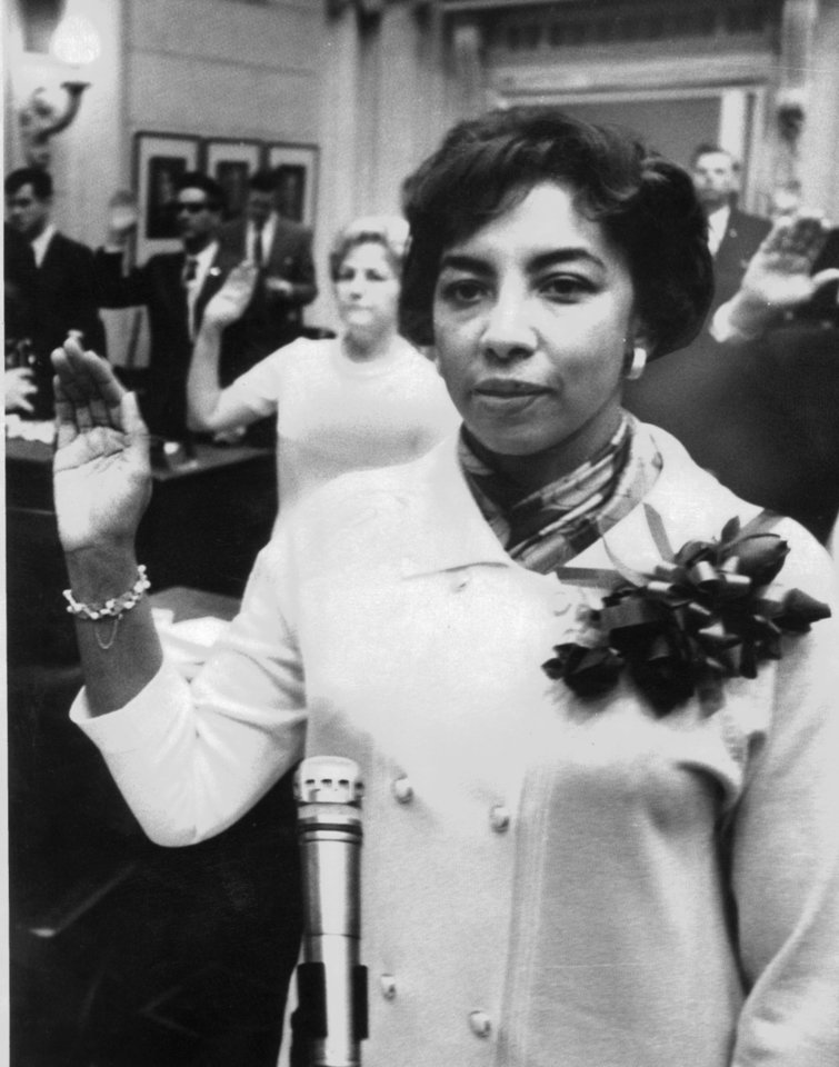 Photo - SWEARING IN: Hannah Atkins, being sworn-in as first black woman elected to the Legislature on 11/20/1968.