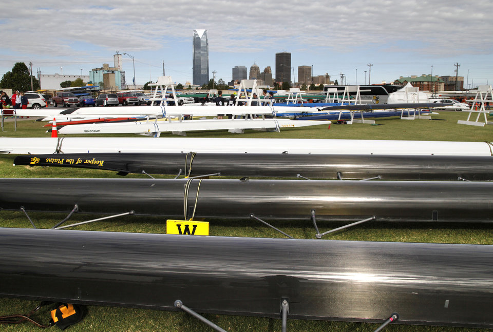 Photo - Rowing Shells await their turn on the water during the Oklahoma Regatta Festival on the Oklahoma River in Oklahoma City, OK, Saturday, October 5, 2013,  Photo by Paul Hellstern, The Oklahoman