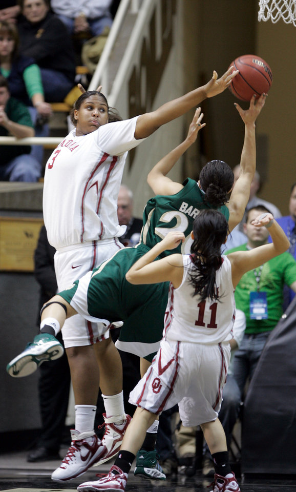 Photo - Notre Dame's Ashley Barlow (20) drives between Courtney Paris and Jenna Plumley in the second half as the University of Oklahoma (OU) women's basketball team plays Notre Dame in the 2008 NCAA Division I Women's Basketball Championship at Mackey Arena in West Lafayette, IN. on Tuesday, March 25, 2008.  BY STEVE SISNEY, THE OKLAHOMAN ORG XMIT: KOD