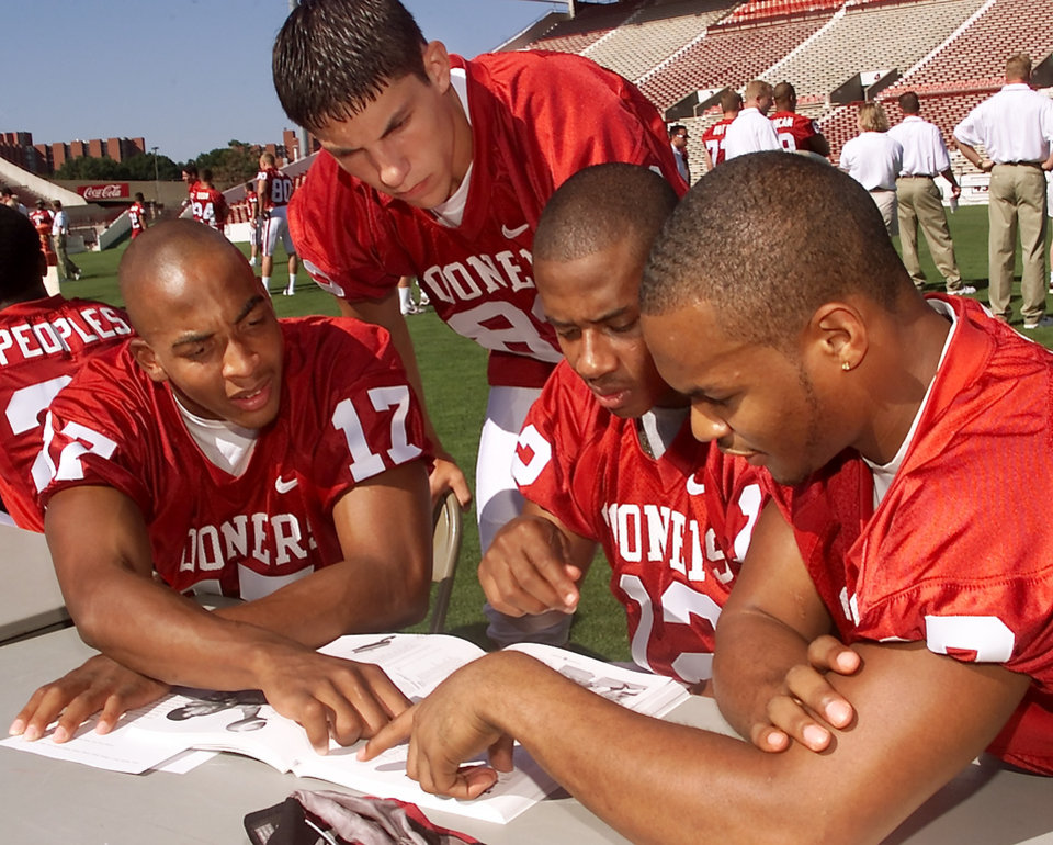 From left: Andre Woolfolk, Ryan Daniel, Curtis Fagan and Damian Mackey.during OU's 2000 media day. OKLAHOMAN ARCHIVE PHOTO