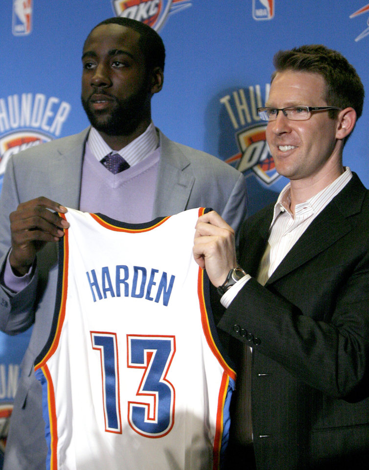 Photo - NBA BASKETBALL TEAM / JERSEY / DRAFT PICKS: Oklahoma City Thunder player James Harden and Thunder general manager Sam Presti pose for a picture before the Thunder Caravan at  Midfirst Bank, in Oklahoma City, Saturday, June 27, 2009. Photo by Sarah Phipps, The Oklahoman ORG XMIT: KOD