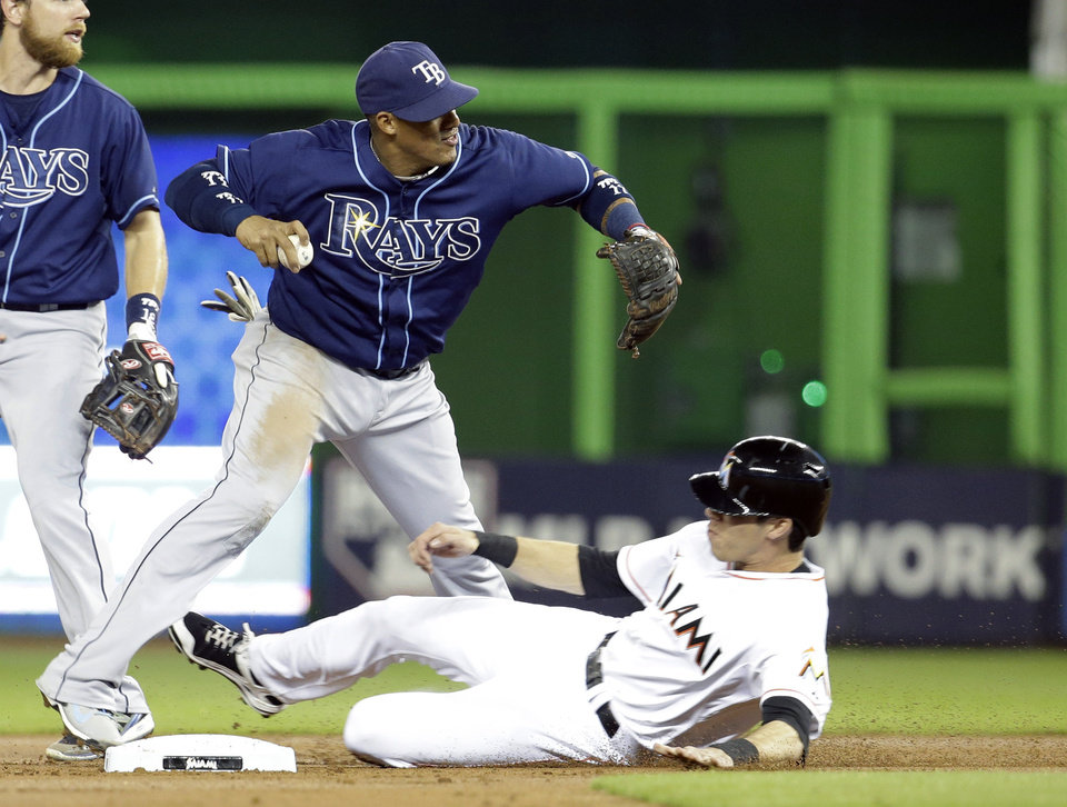 Photo - Miami Marlins' Christian Yelich, right, is out at second on a fielder's choice as Tampa Bay Rays shortstop Yunel Escobar, left, throws to first during the first inning of an interleague baseball game, Tuesday, June 3, 2014, in Miami. (AP Photo/Lynne Sladky)